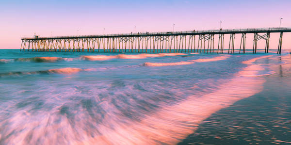 Art Print featuring the photograph Sunset At Kure Beach Fishing Pier Panorama by Ranjay Mitra