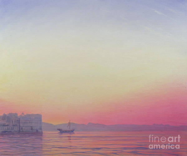 Atmospheric Painting - Sunset At Lake Palace, Udaipur by Derek Hare