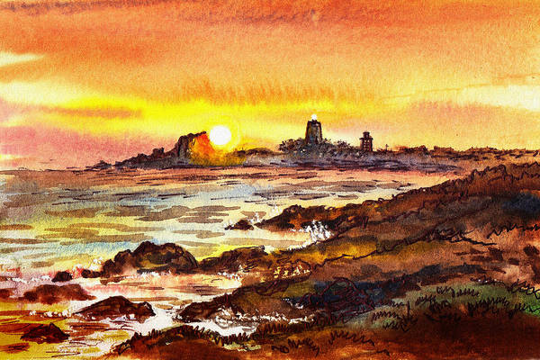 Painting - Sunset At Lighthouse Piedras Blancas  by Irina Sztukowski