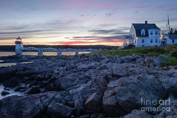 Photograph - Sunset At Marshall Point Light, Port Clyde, Maine  -87457-87459 by John Bald