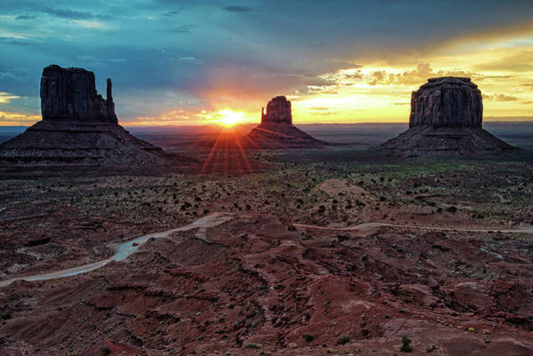 Wall Art - Photograph - Sunset At Monument Valley Navajo Tribal Park Three Mittens Arizona by Silvio Ligutti