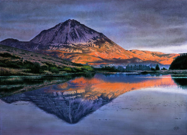 Donegal Painting - Sunset At Mount Errigal by Conor O'Brien