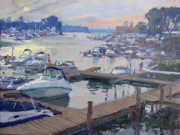 Tonawanda Wall Art - Painting - Sunset At North Tonawanda Harbor by Ylli Haruni