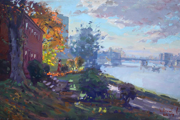 Tonawanda Wall Art - Painting - Sunset At North Tonawanda by Ylli Haruni