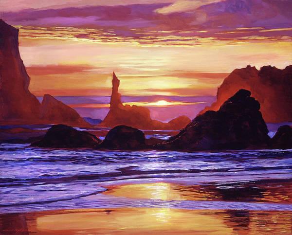 Painting -  Sunset At Oregon Rocks by David Lloyd Glover