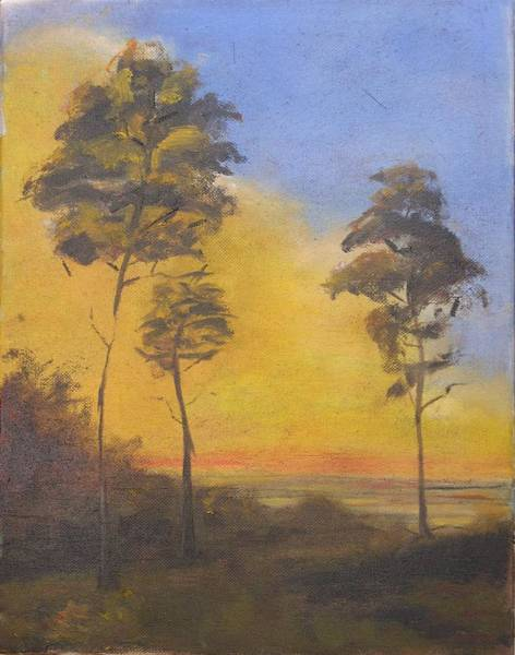 Wall Art - Painting - Sunset At Overlook by Patricia Caldwell