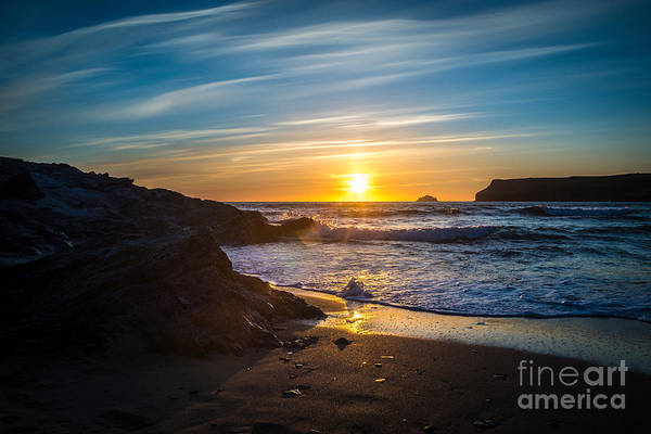 Wall Art - Photograph - Sunset At Polzeath, Cornwall, Uk by Amanda Elwell