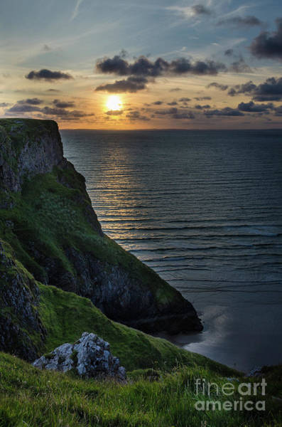 Art Print featuring the photograph Sunset At Rhossili Bay by Perry Rodriguez