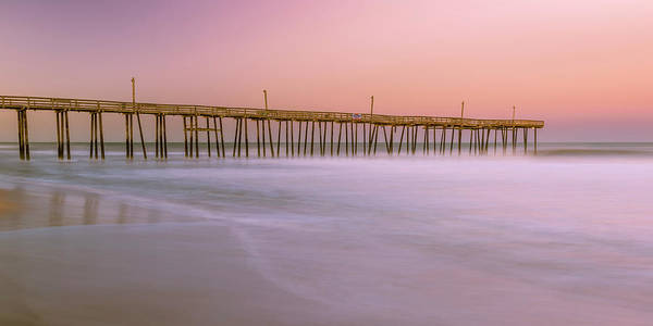 Art Print featuring the photograph Sunset At Rodanthe Fishing Pier In Obx Panorama by Ranjay Mitra
