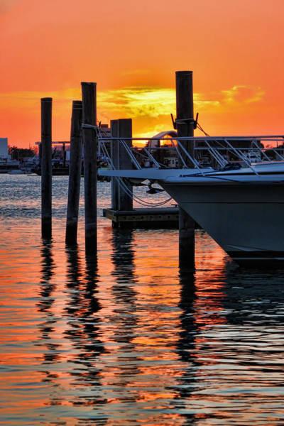 Photograph - Sunset At Sailboat Marina by Jeff Breiman