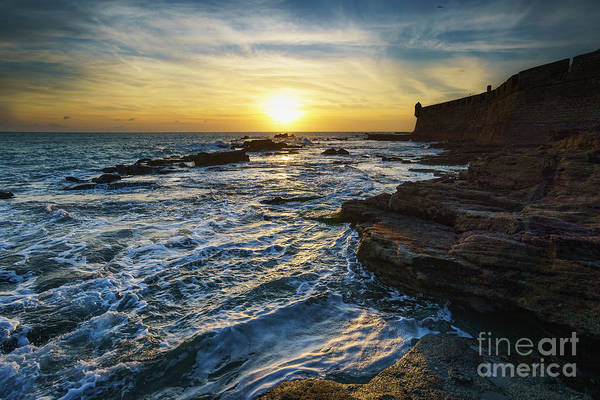 Photograph - Sunset At San Sebastian Castle Cadiz Spain by Pablo Avanzini