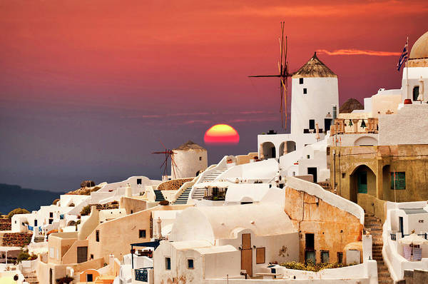 sunset at Santorini Art Print