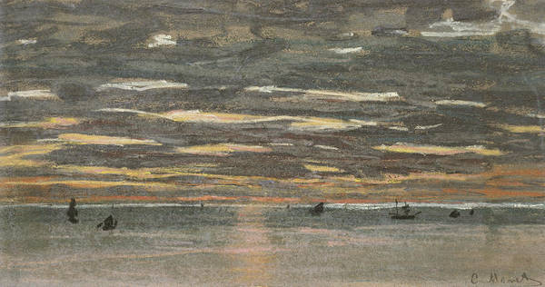 Grey Skies Wall Art - Painting - Sunset At Sea by Claude Monet
