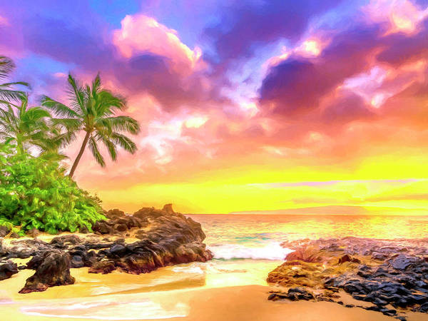 Painting - Sunset At Secret Beach Maui by Dominic Piperata