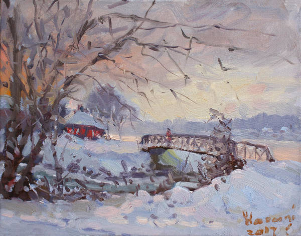 Wall Art - Painting - Sunset At Snow-covered Niawanda Park by Ylli Haruni