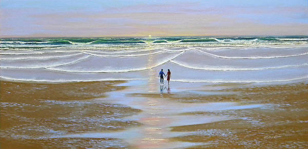 Wave Breaking Painting - Sunset At The Beach by Frank Wilson