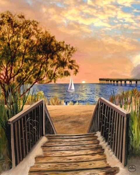 Wall Art - Painting - Stairway To The Beach by Ron Chambers