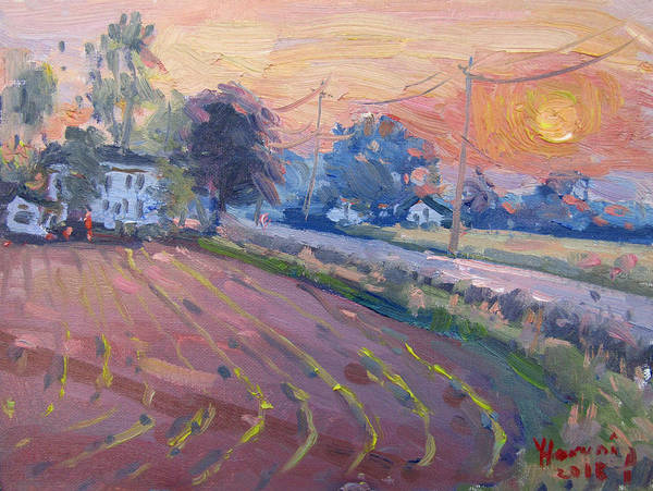 Wall Art - Painting - Sunset At The Farm by Ylli Haruni