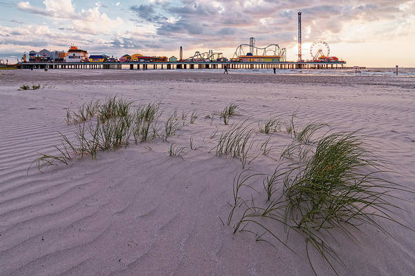 Photograph - Sunset At The Historic Galveston Pleasure Pier - Texas Gulf Coast by Silvio Ligutti