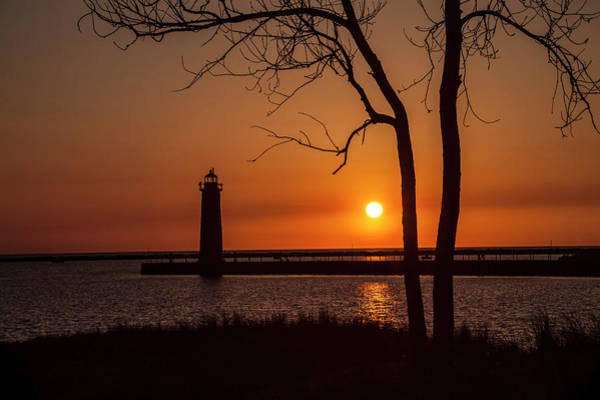 Photograph - Sunset At The Lighthouse In Muskegon Michigan by Randall Nyhof