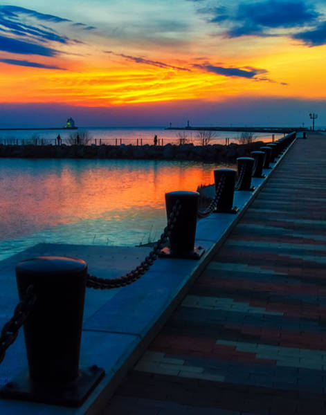 Photograph - Sunset At The Lorain Lighthouse In Ohio by Richard Kopchock
