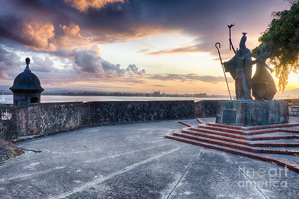 Wall Art - Photograph - Sunset At  The Plaza Of The Religious Procession by George Oze