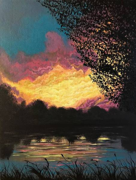 Wall Art - Painting - Sunset At The Pond by Willy Proctor