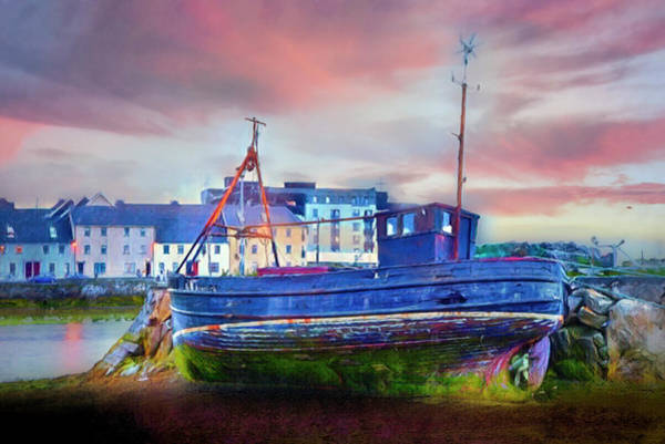 Photograph - Sunset At The Port In Galway Painting by Debra and Dave Vanderlaan