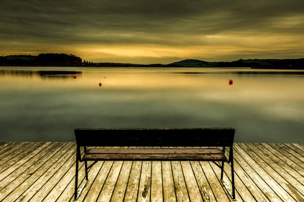 Photograph - Sunset At The Wallersee by Wolfgang Stocker