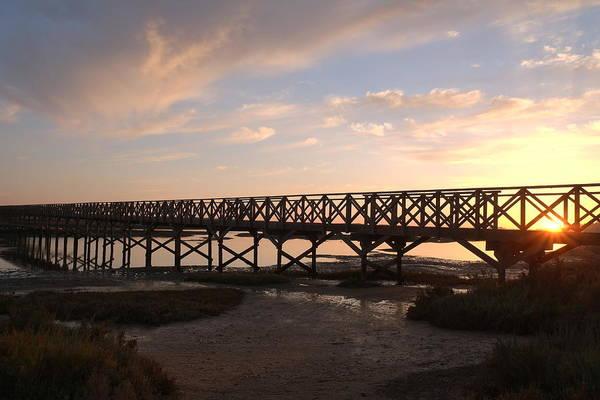 Sunset At The Wooden Bridge Art Print
