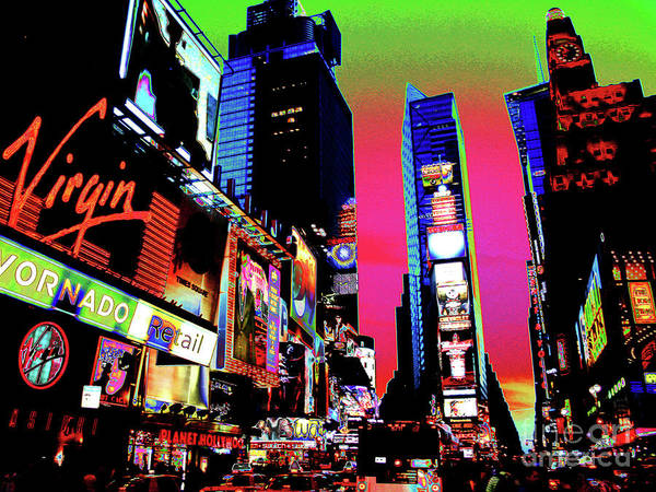 Sunset At Times Square Art Print