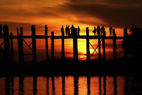 Photograph - Sunset At U Bein Bridge Myanmar by Kurt Van Wagner