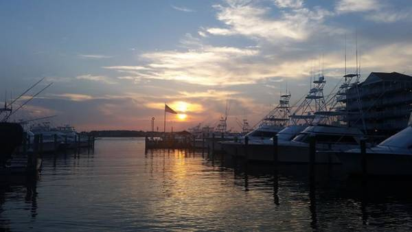Photograph - Sunset At White Marlin Marina by Robert Banach