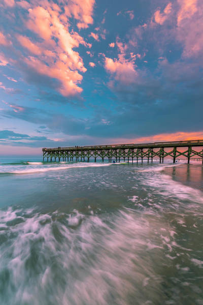 Art Print featuring the photograph Sunset At Wilmington Crystal Pier In North Carolina by Ranjay Mitra
