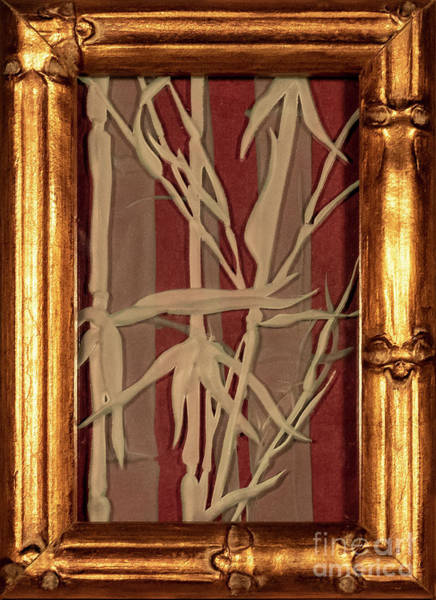 Glass Art - Sunset Bamboo With Frame by Alone Larsen