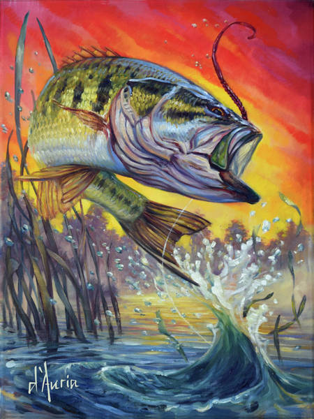 Freshwater Wall Art - Painting - Sunset Bass by Tom Dauria
