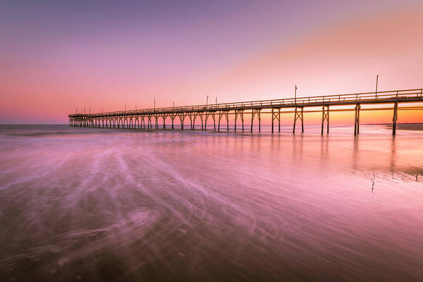 Art Print featuring the photograph Sunset Beach Fishing Pier In The Carolinas At Sunset by Ranjay Mitra