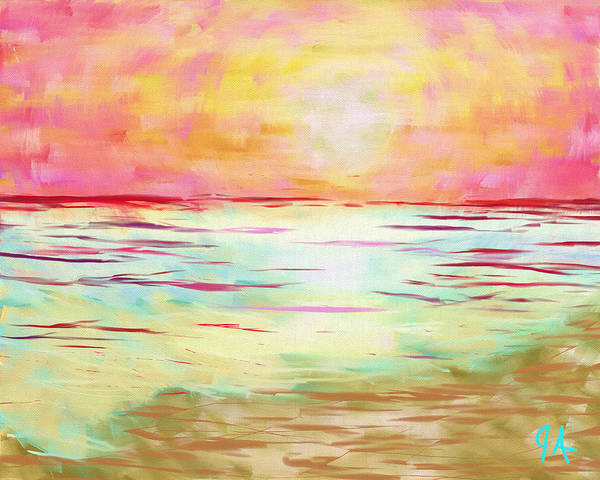 Projection Digital Art - Sunset Beach by Jeremy Aiyadurai