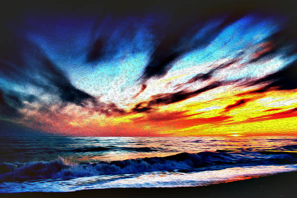 Photograph - Sunset Beach Oil Painting Art  by John Williams