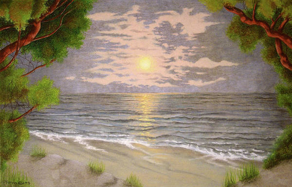Beach Grass Drawing - Sunset Beach by Teresa Frazier