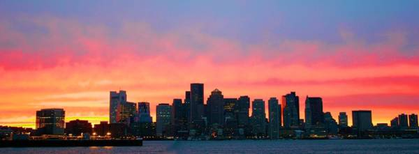 Photograph - Sunset Behind The Boston Skyline by Polly Castor