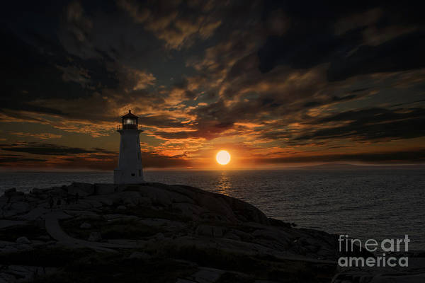 Photograph - Sunset Behind Lighthouse At Peggy's Cove Nova Scotia by Dan Friend