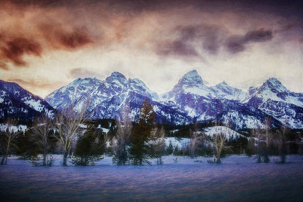 Photograph - Sunset Behind The Tetons Painterly Version by Belinda Greb