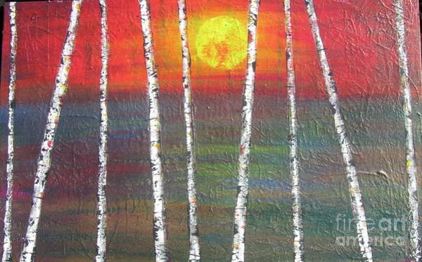 Painting - Sunset Birch by Jacqueline Athmann