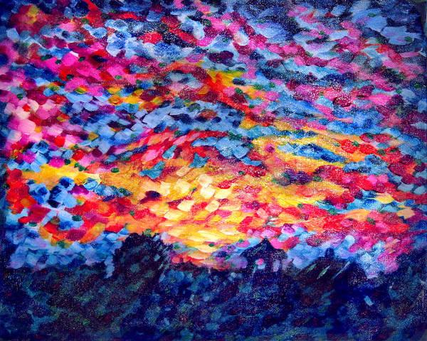 Wall Art - Painting - Sunset Blaze 1 by Laura Heggestad