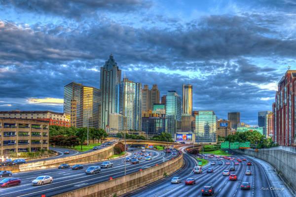 Photograph - Sunset Blue Glass Reflections Atlanta Downtown Cityscape Art by Reid Callaway