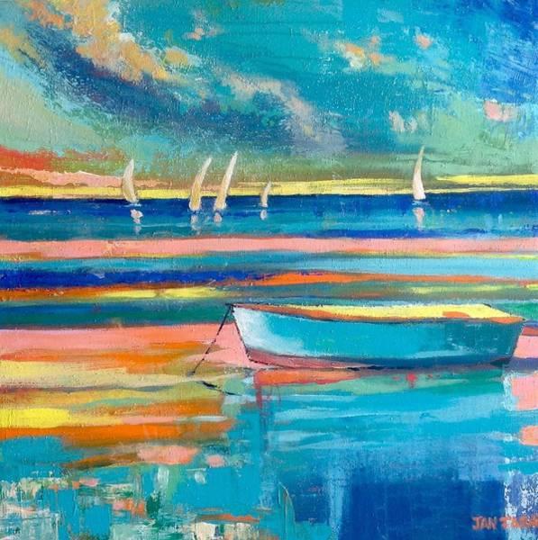 Caribbean Wall Art - Painting - Sunset Boat by Jan Farara
