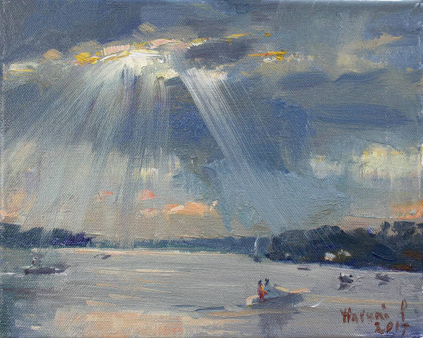 Wall Art - Painting - Sunset Boating by Ylli Haruni