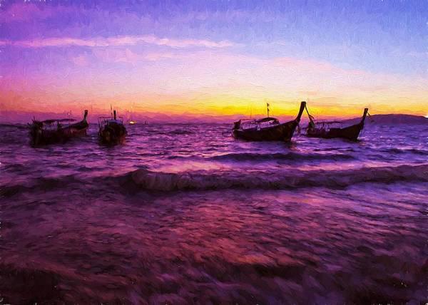 Digital Art - Sunset Boats by Charmaine Zoe