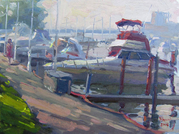 Featured Wall Art - Painting - Sunset By The Boats by Ylli Haruni
